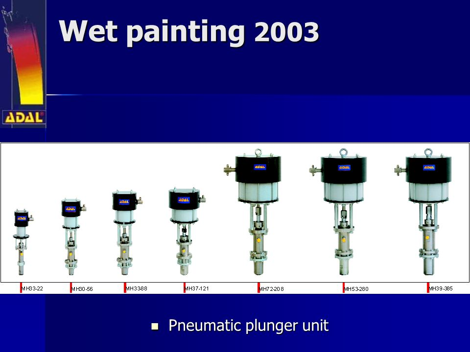 Wet painting 2003 Pneumatic plunger unit Pneumatic plunger unit
