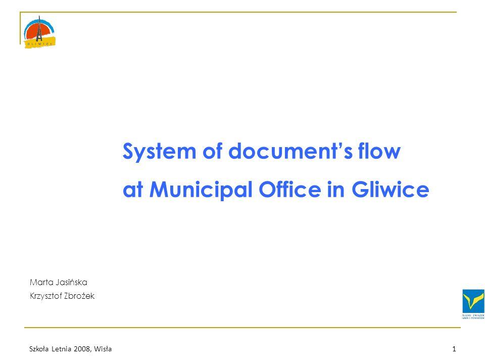 Szkoła Letnia 2008, Wisła1 System of documents flow at Municipal Office in Gliwice Marta Jasińska Krzysztof Zbrożek