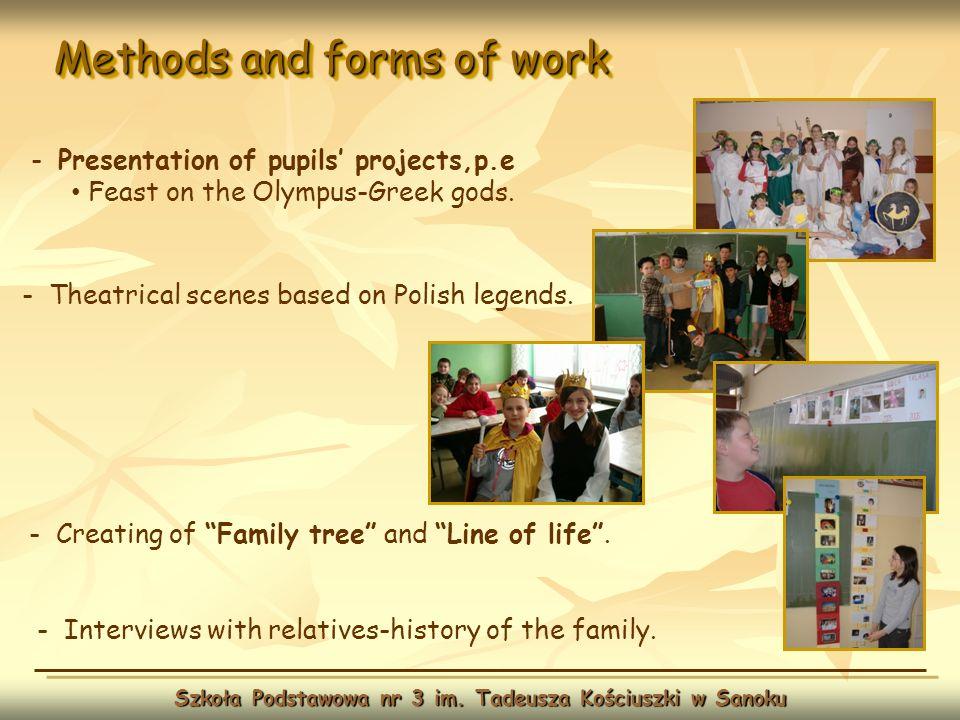 Methods and forms of work Szkoła Podstawowa nr 3 im. Tadeusza Kościuszki w Sanoku - Theatrical scenes based on Polish legends. - Presentation of pupil