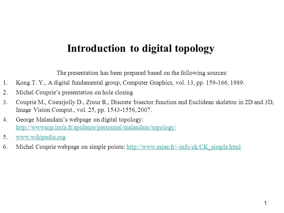 1 Introduction to digital topology The presentation has been prepared based on the following sources: 1.Kong T. Y., A digital fundamental group, Compu