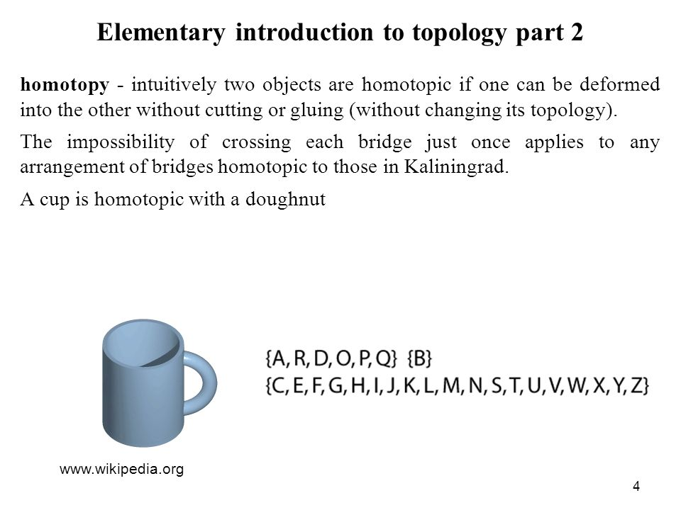 4 Elementary introduction to topology part 2 homotopy - intuitively two objects are homotopic if one can be deformed into the other without cutting or