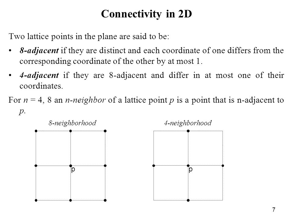 7 Connectivity in 2D Two lattice points in the plane are said to be: 8 adjacent if they are distinct and each coordinate of one differs from the corre