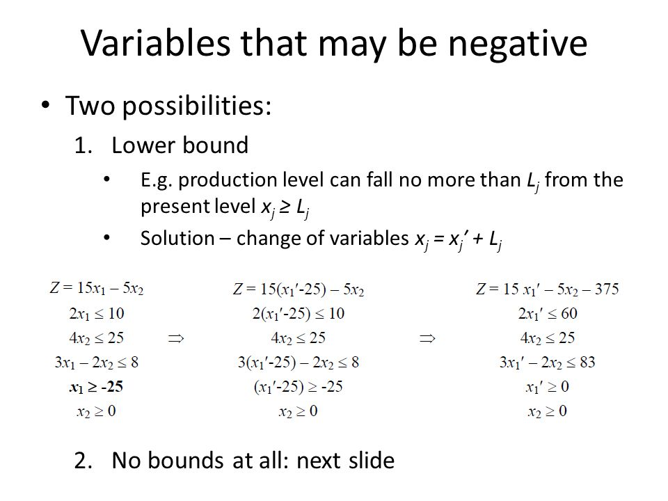 Variables that may be negative Two possibilities: 1.Lower bound E.g. production level can fall no more than L j from the present level x j L j Solutio