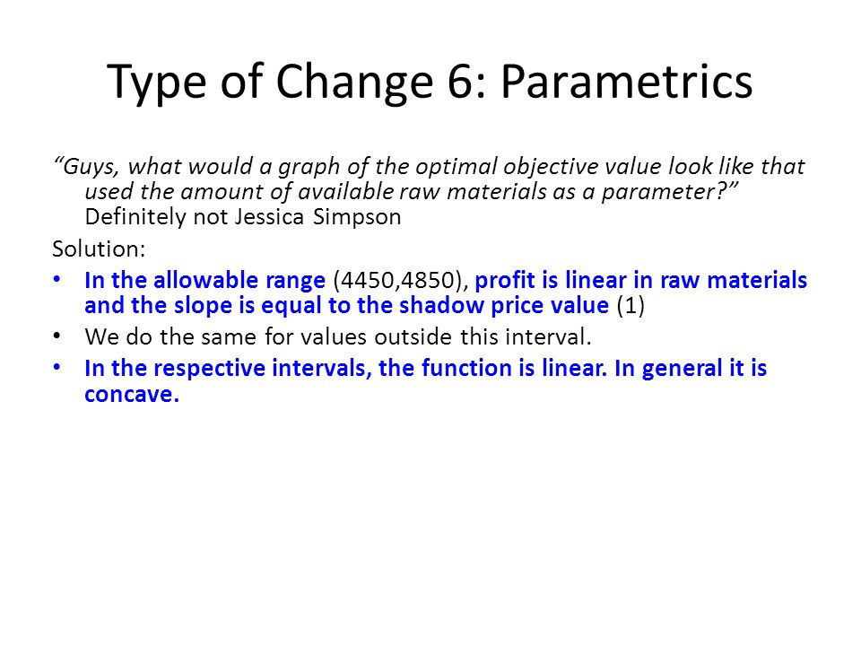 Type of Change 6: Parametrics Guys, what would a graph of the optimal objective value look like that used the amount of available raw materials as a p