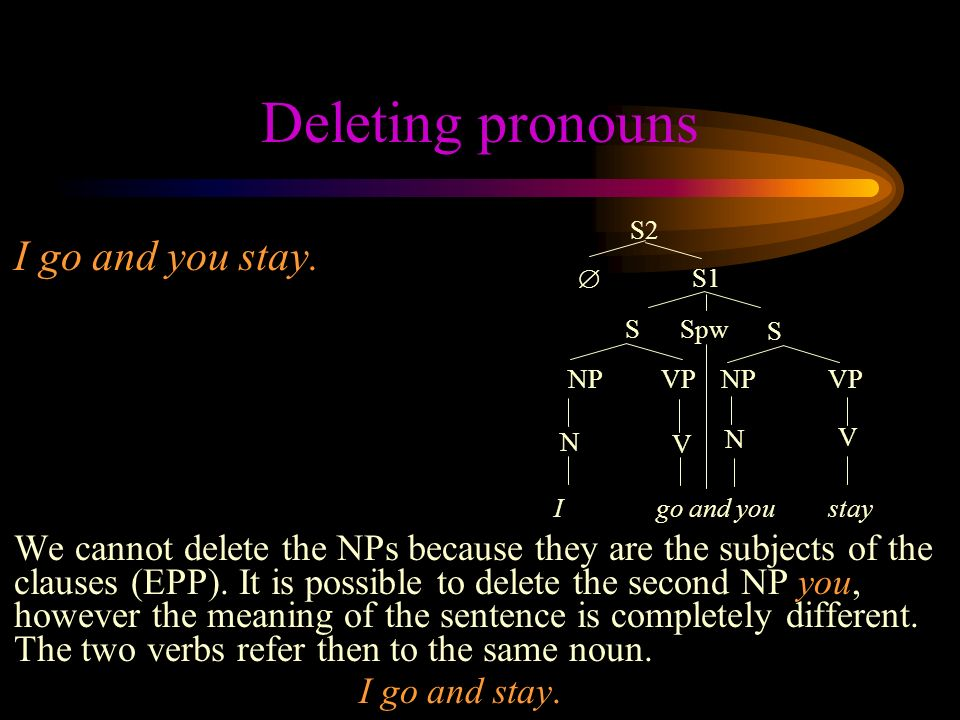 Deleting pronouns I go and you stay.