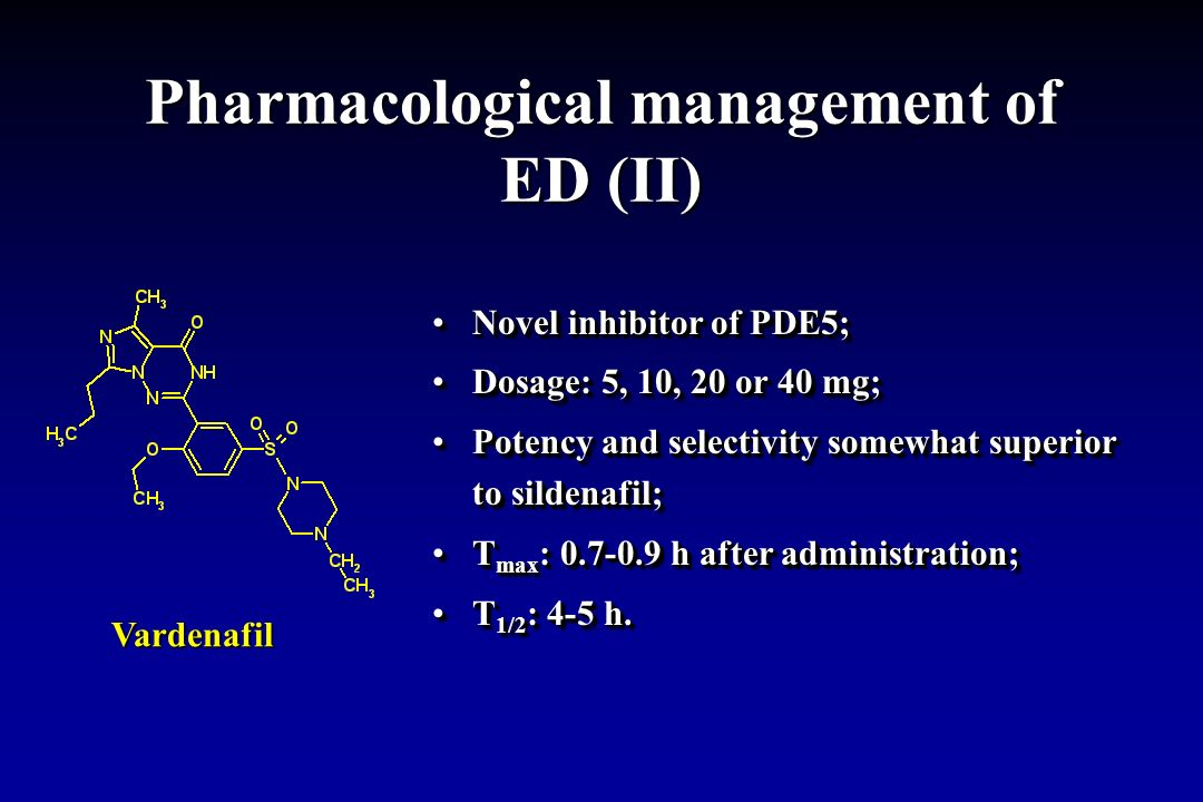 Pharmacological management of ED (II) Novel inhibitor of PDE5;Novel inhibitor of PDE5; Dosage: 5, 10, 20 or 40 mg;Dosage: 5, 10, 20 or 40 mg; Potency