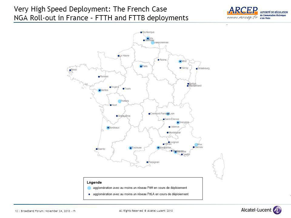 All Rights Reserved © Alcatel-Lucent | Broadband Forum| November 24, rh Very High Speed Deployment: The French Case NGA Roll-out in France – FTTH and FTTB deployments