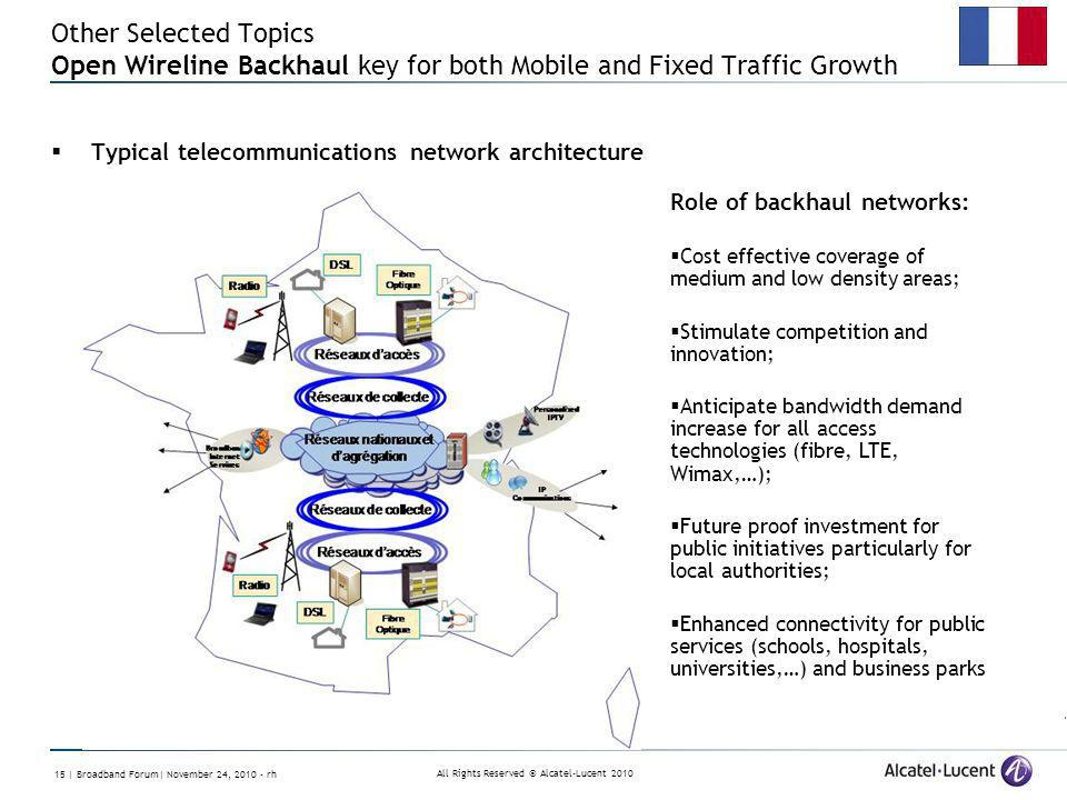 All Rights Reserved © Alcatel-Lucent 2010 15 | Broadband Forum| November 24, 2010 - rh Other Selected Topics Open Wireline Backhaul key for both Mobil