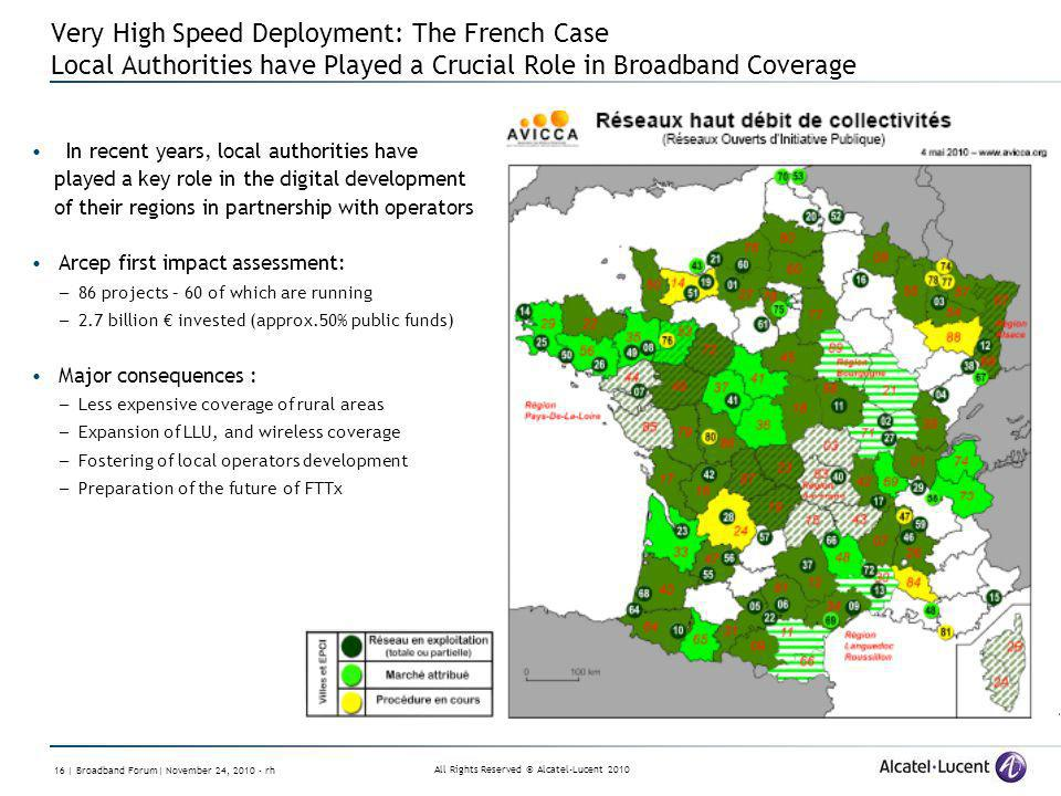 All Rights Reserved © Alcatel-Lucent 2010 16 | Broadband Forum| November 24, 2010 - rh Very High Speed Deployment: The French Case Local Authorities h