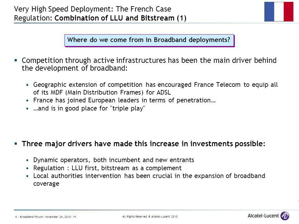 All Rights Reserved © Alcatel-Lucent 2010 4 | Broadband Forum| November 24, 2010 - rh Very High Speed Deployment: The French Case Regulation: Combinat
