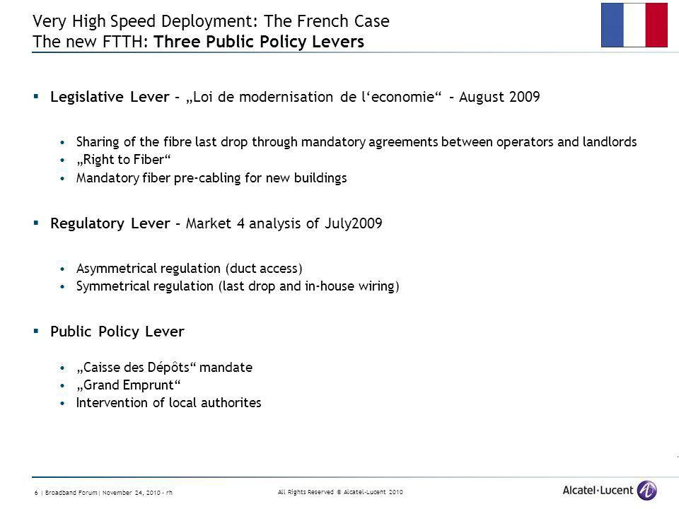 All Rights Reserved © Alcatel-Lucent | Broadband Forum| November 24, rh Very High Speed Deployment: The French Case The new FTTH: Three Public Policy Levers Legislative Lever – Loi de modernisation de leconomie – August 2009 Sharing of the fibre last drop through mandatory agreements between operators and landlords Right to Fiber Mandatory fiber pre-cabling for new buildings Regulatory Lever – Market 4 analysis of July2009 Asymmetrical regulation (duct access) Symmetrical regulation (last drop and in-house wiring) Public Policy Lever Caisse des Dépôts mandate Grand Emprunt Intervention of local authorites