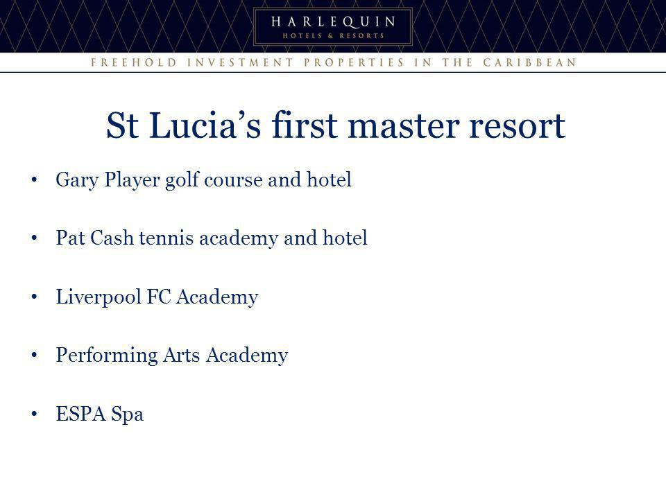 St Lucias first master resort Gary Player golf course and hotel Pat Cash tennis academy and hotel Liverpool FC Academy Performing Arts Academy ESPA Sp
