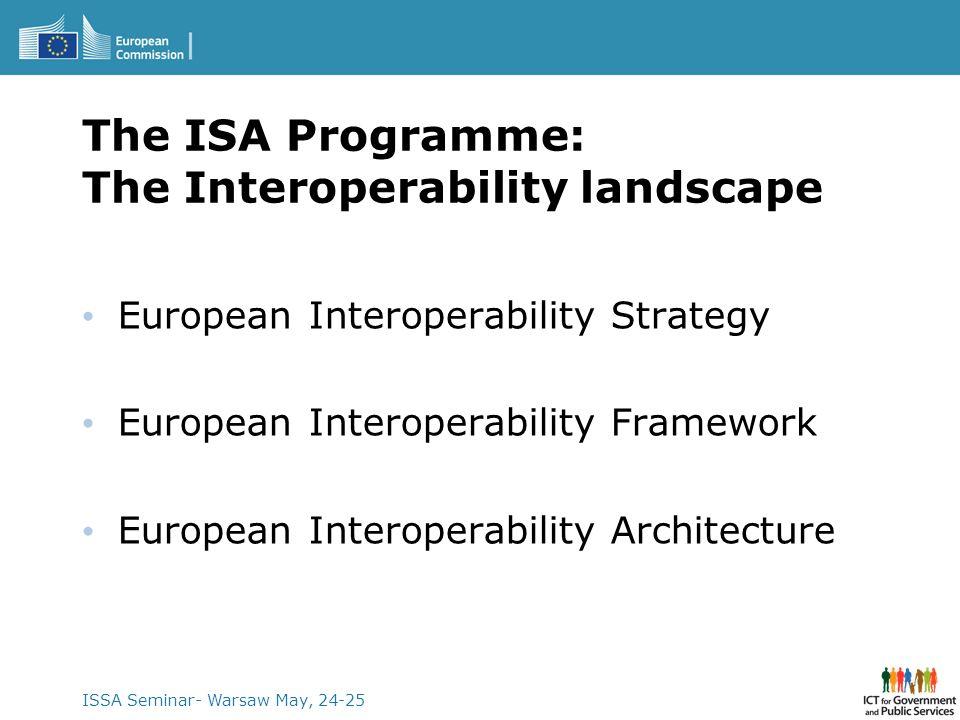 ISSA Seminar- Warsaw May, 24-25 The ISA Programme: The Interoperability landscape European Interoperability Strategy European Interoperability Framewo