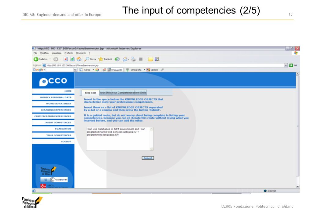 ©2005 Fondazione Politecnico di Milano SIG A8: Engineer demand and offer in Europe 14 The input of competencies (1/5)