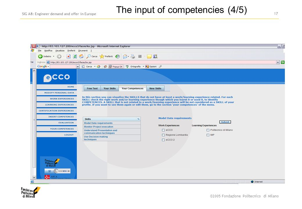 ©2005 Fondazione Politecnico di Milano SIG A8: Engineer demand and offer in Europe 16 The input of competencies (3/5)