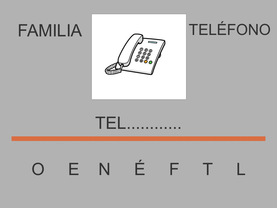 FAMILIA O E N É F T L TELÉFONO TE..............