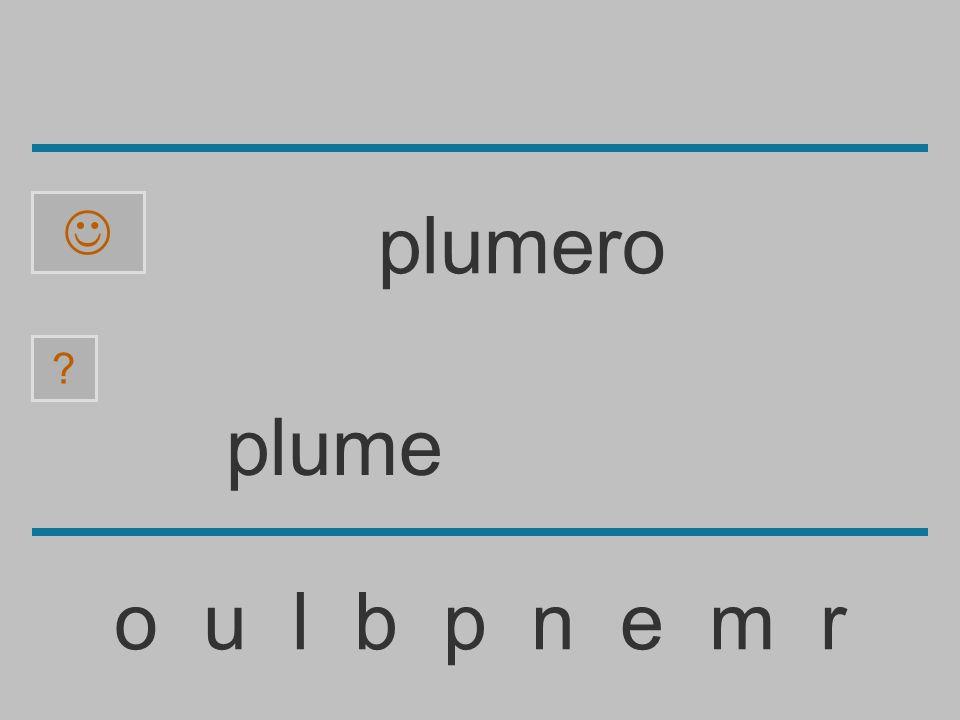 plum o u l b p n e m r ? plumero
