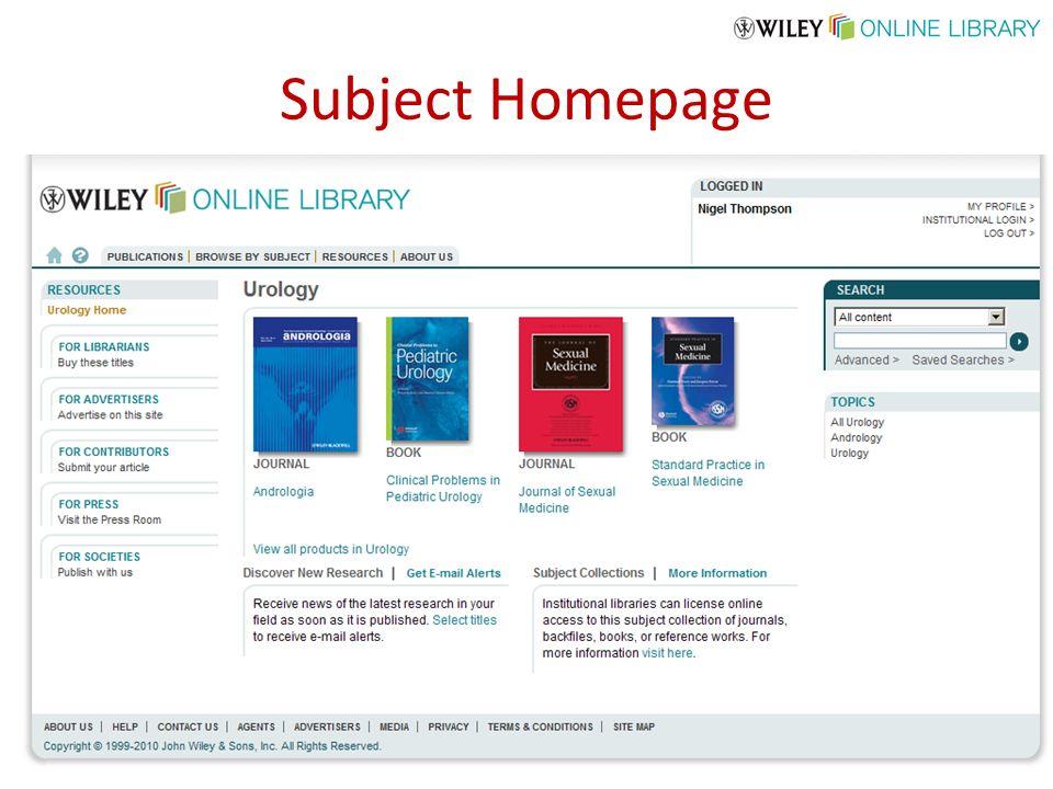 Subject Homepage