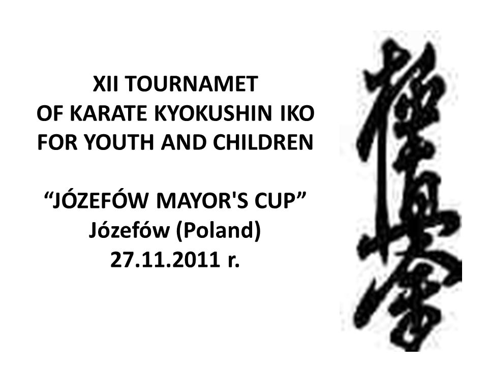 XII TOURNAMET OF KARATE KYOKUSHIN IKO FOR YOUTH AND CHILDREN JÓZEFÓW MAYOR S CUP Józefów (Poland) 27.11.2011 r.