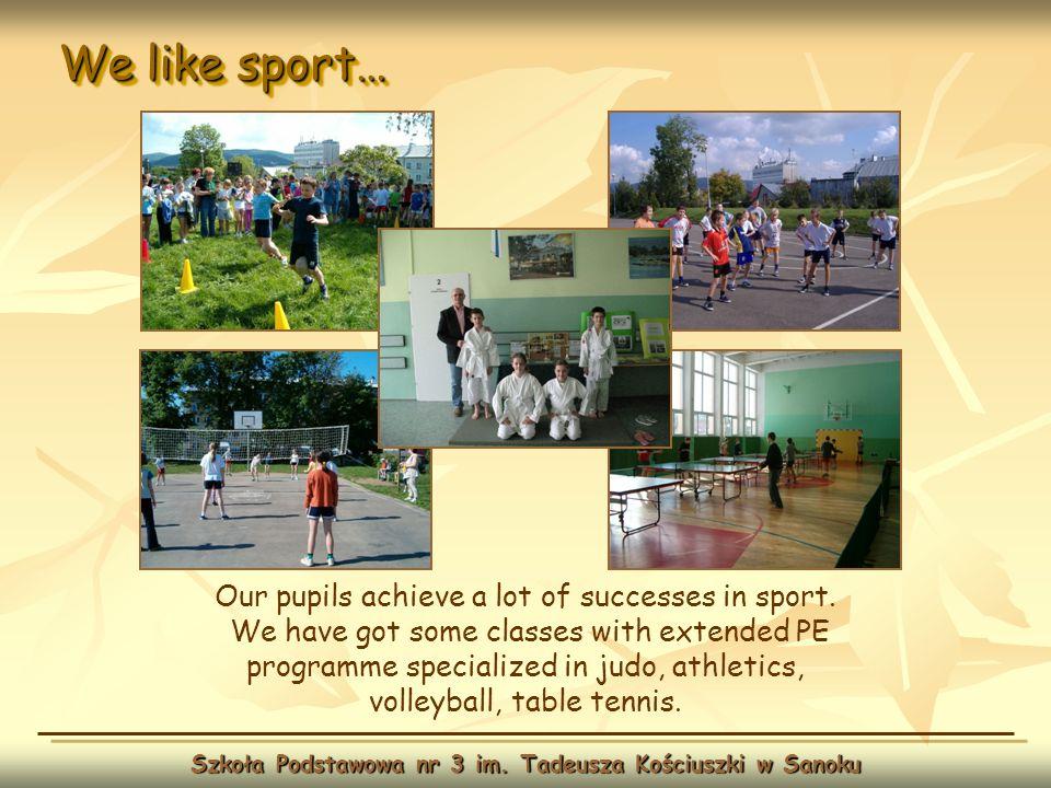 We like sport… Szkoła Podstawowa nr 3 im. Tadeusza Kościuszki w Sanoku Our pupils achieve a lot of successes in sport. We have got some classes with e