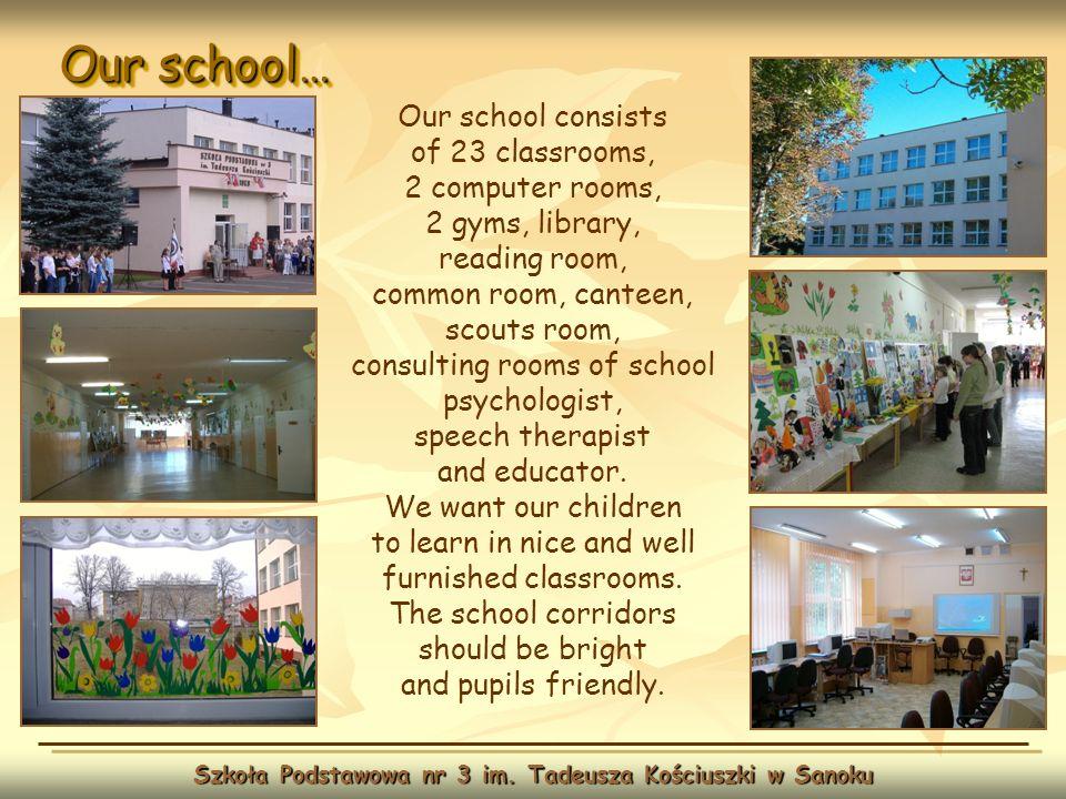 Our school… Szkoła Podstawowa nr 3 im. Tadeusza Kościuszki w Sanoku Our school consists of 23 classrooms, 2 computer rooms, 2 gyms, library, reading r