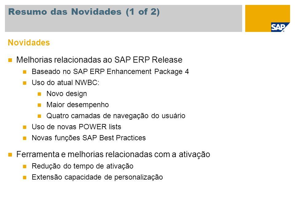 Novidades Melhorias relacionadas ao SAP ERP Release Baseado no SAP ERP Enhancement Package 4 Uso do atual NWBC: Novo design Maior desempenho Quatro ca