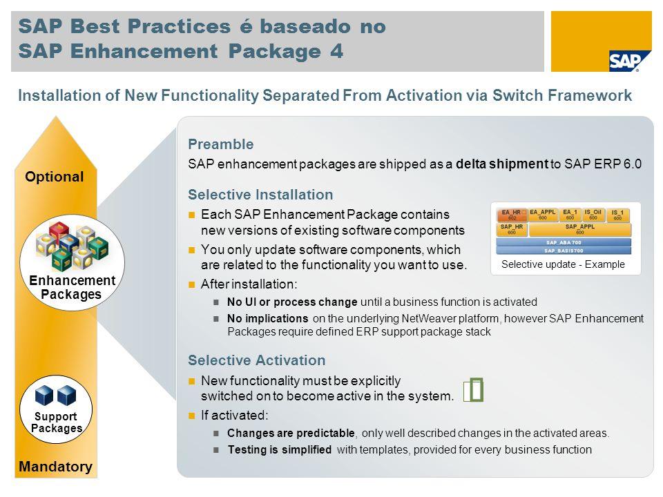 SAP Best Practices é baseado no SAP Enhancement Package 4 Preamble SAP enhancement packages are shipped as a delta shipment to SAP ERP 6.0 Selective I