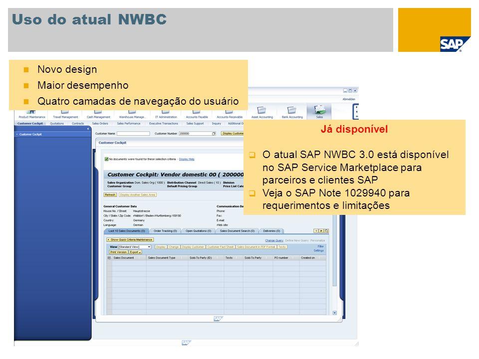 Uso do atual NWBC Novo design Maior desempenho Quatro camadas de navegação do usuário Já disponível O atual SAP NWBC 3.0 está disponível no SAP Servic