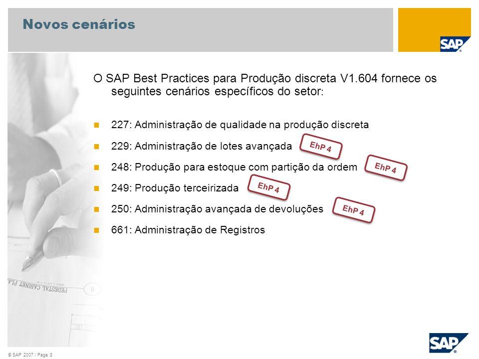 © SAP 2007 / Page 8 Novos cenários O SAP Best Practices para Produção discreta V1.604 fornece os seguintes cenários específicos do setor : 227: Admini