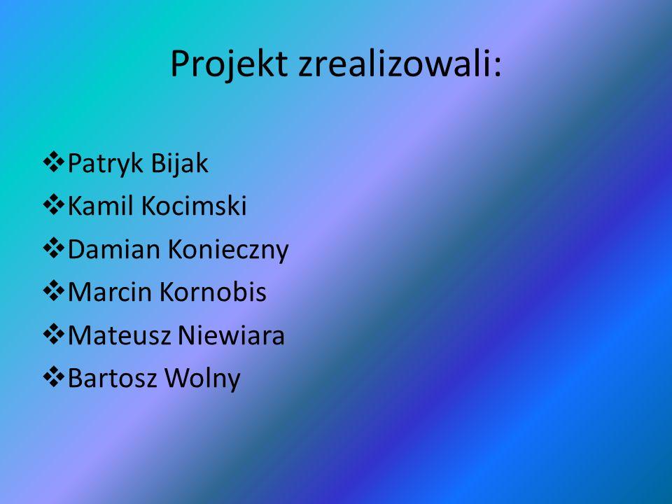 Projekt zrealizowali: Patryk Bijak Kamil Kocimski Damian Konieczny Marcin Kornobis Mateusz Niewiara Bartosz Wolny