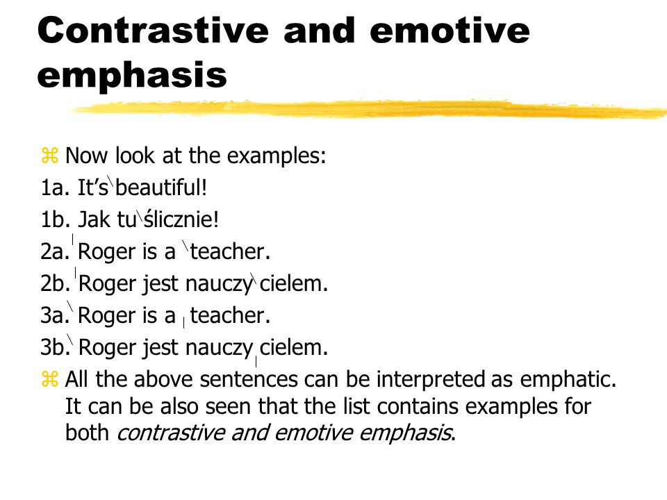 Emphasis - examples 1a. 'Roger is a teacher. 1b. Roger is a teacher. 2a. 'Robert jest Ang likiem. 2b. Robert jest Ang likiem. 3a. Ma rysia jest tan ce