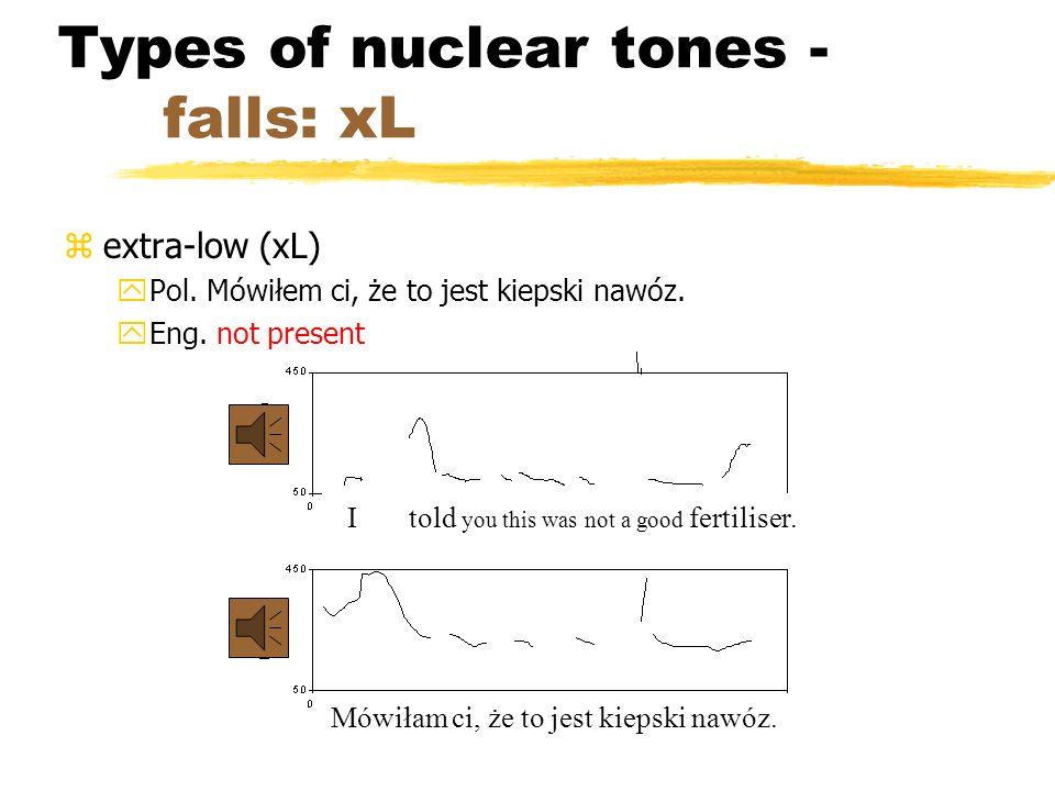 Types of nuclear tones - falls: ML and HM zmiddle-low (ML) yPol. Bardzo zły znak. yEng. I don't believe it. zhigh-middle (HM) yPol. To nie jest najlep