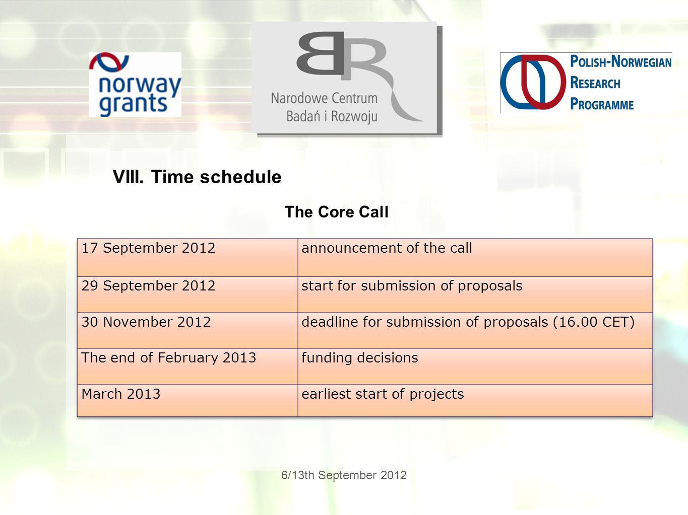 6/13th September 2012 VIII. Time schedule The Core Call