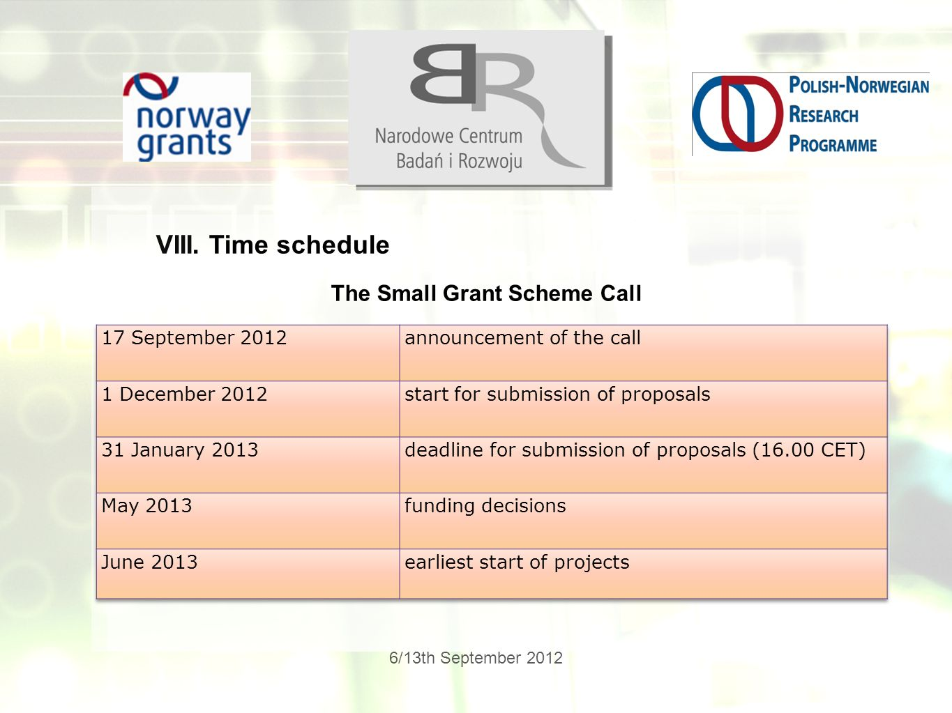 6/13th September 2012 VIII. Time schedule The Small Grant Scheme Call
