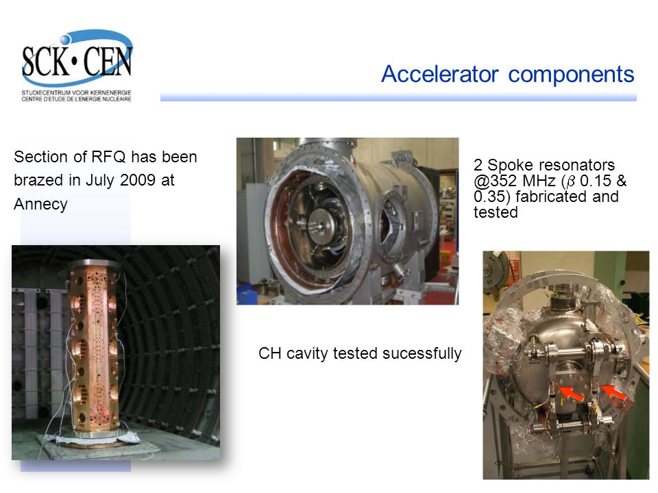 22 Accelerator components Section of RFQ has been brazed in July 2009 at Annecy 2 Spoke resonators @352 MHz ( 0.15 & 0.35) fabricated and tested CH ca