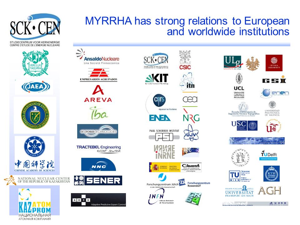 34 MYRRHA has strong relations to European and worldwide institutions