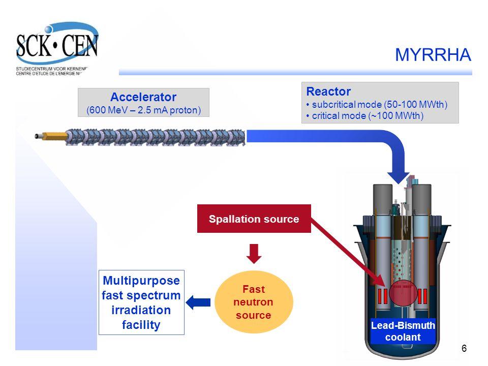 6 Reactor subcritical mode (50-100 MWth) critical mode (~100 MWth) Accelerator (600 MeV – 2.5 mA proton) Fast neutron source Spallation source Lead-Bismuth coolant Multipurpose fast spectrum irradiation facility 6 MYRRHA