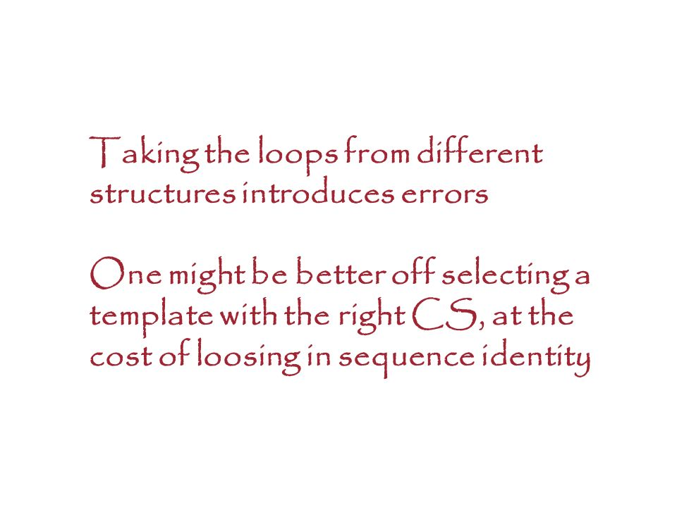Taking the loops from different structures introduces errors One might be better off selecting a template with the right CS, at the cost of loosing in