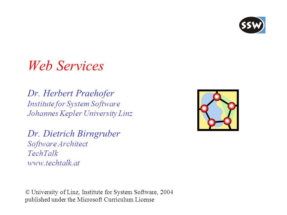 Web Services Dr. Herbert Praehofer Institute for System Software Johannes Kepler University Linz Dr. Dietrich Birngruber Software Architect TechTalk w