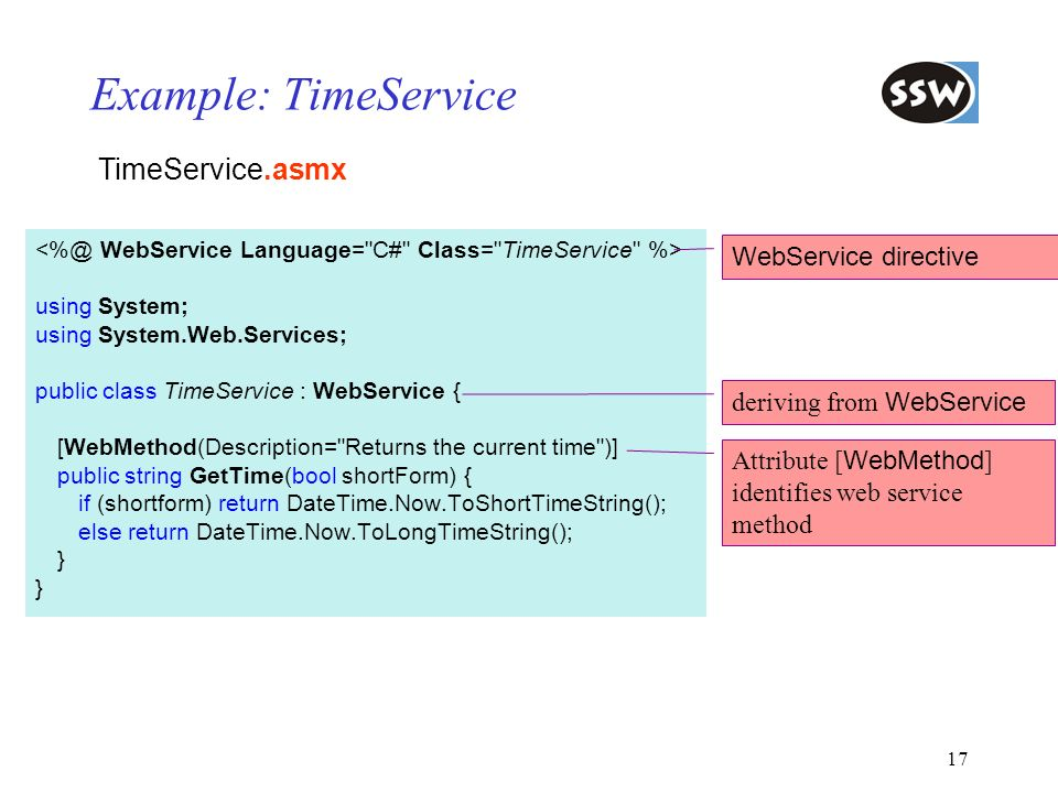 17 Example: TimeService using System; using System.Web.Services; public class TimeService : WebService { [WebMethod(Description=