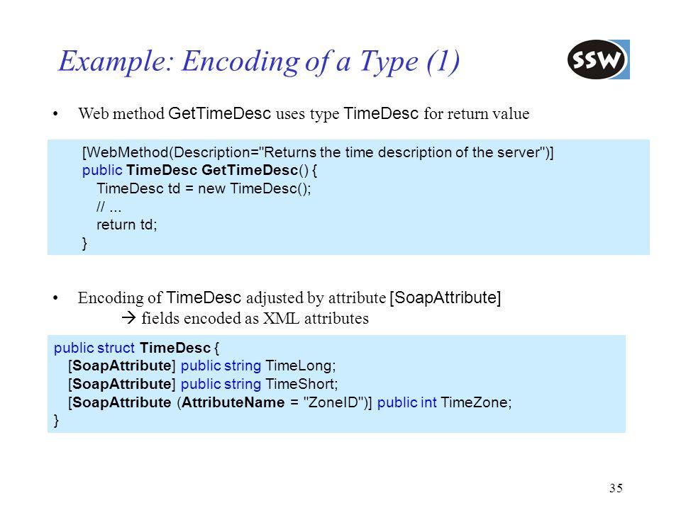35 Example: Encoding of a Type (1) Web method GetTimeDesc uses type TimeDesc for return value [WebMethod(Description=