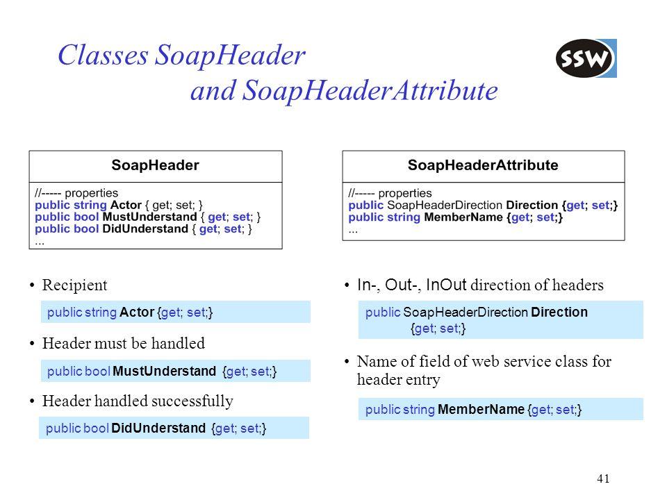 41 Classes SoapHeader and SoapHeaderAttribute Recipient Header must be handled Header handled successfully public string Actor {get; set;} public bool