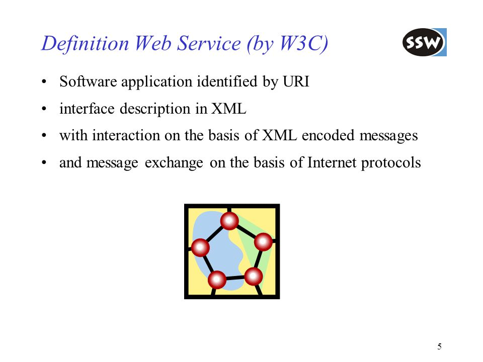5 Definition Web Service (by W3C) Software application identified by URI interface description in XML with interaction on the basis of XML encoded mes