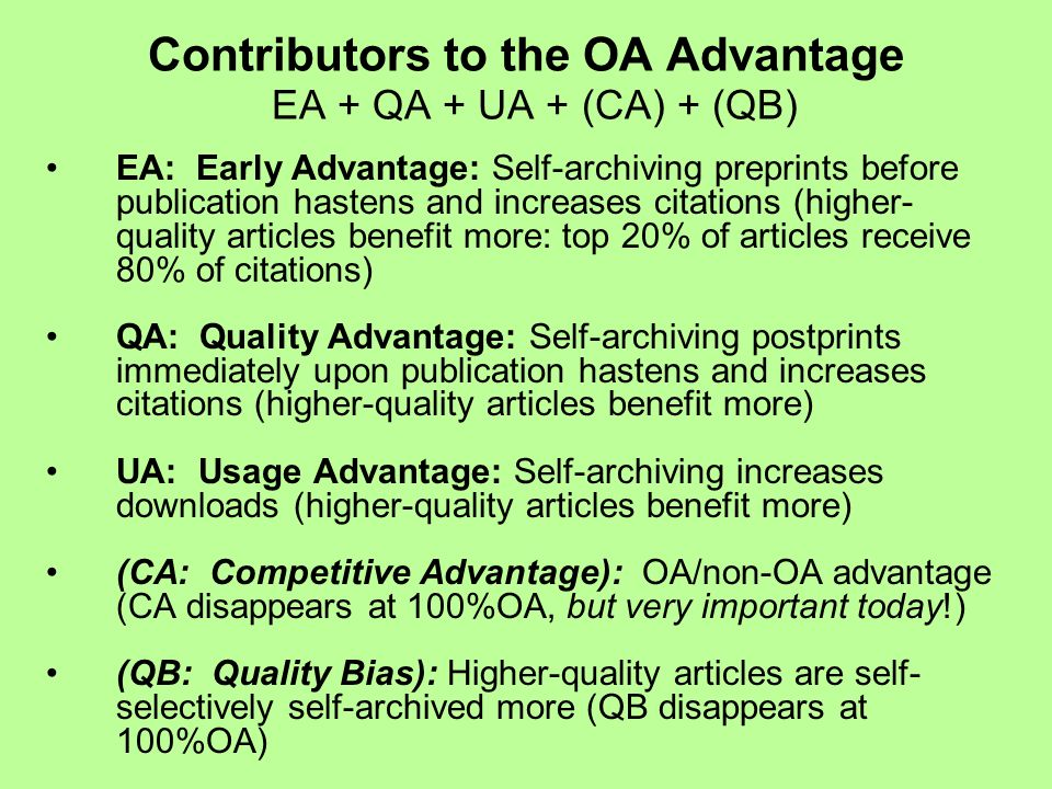 EA: Early Advantage: Self-archiving preprints before publication hastens and increases citations (higher- quality articles benefit more: top 20% of ar