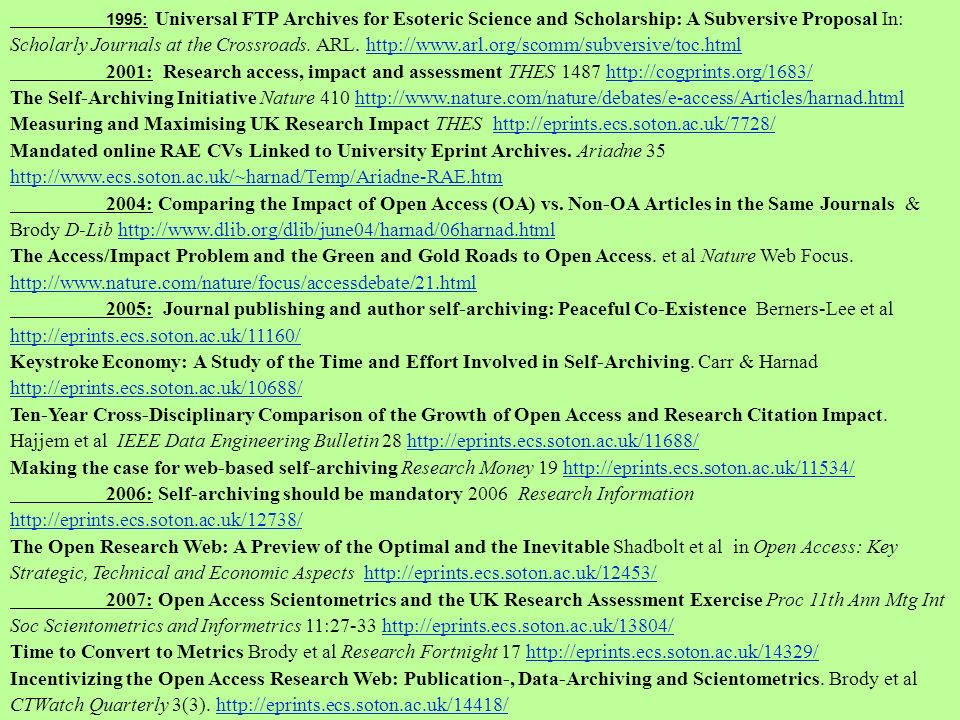 1995: Universal FTP Archives for Esoteric Science and Scholarship: A Subversive Proposal In: Scholarly Journals at the Crossroads.