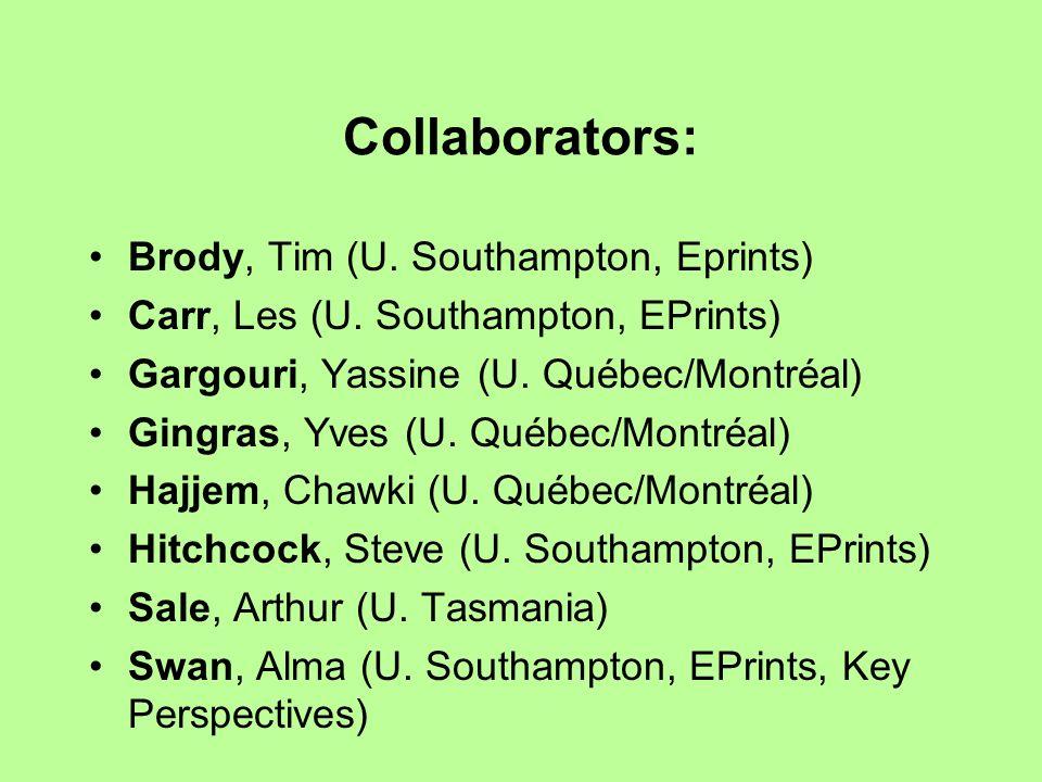 Collaborators: Brody, Tim (U. Southampton, Eprints) Carr, Les (U. Southampton, EPrints) Gargouri, Yassine (U. Québec/Montréal) Gingras, Yves (U. Québe