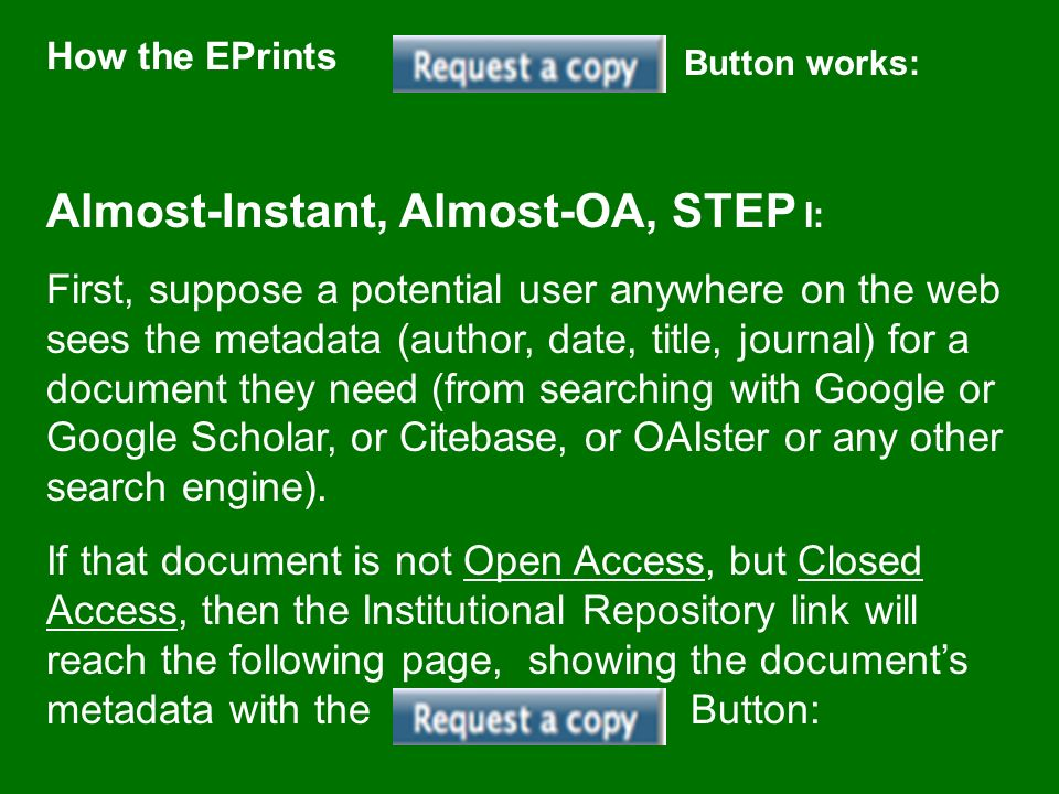 How the EPrints Button works: Almost-Instant, Almost-OA, STEP I: First, suppose a potential user anywhere on the web sees the metadata (author, date,