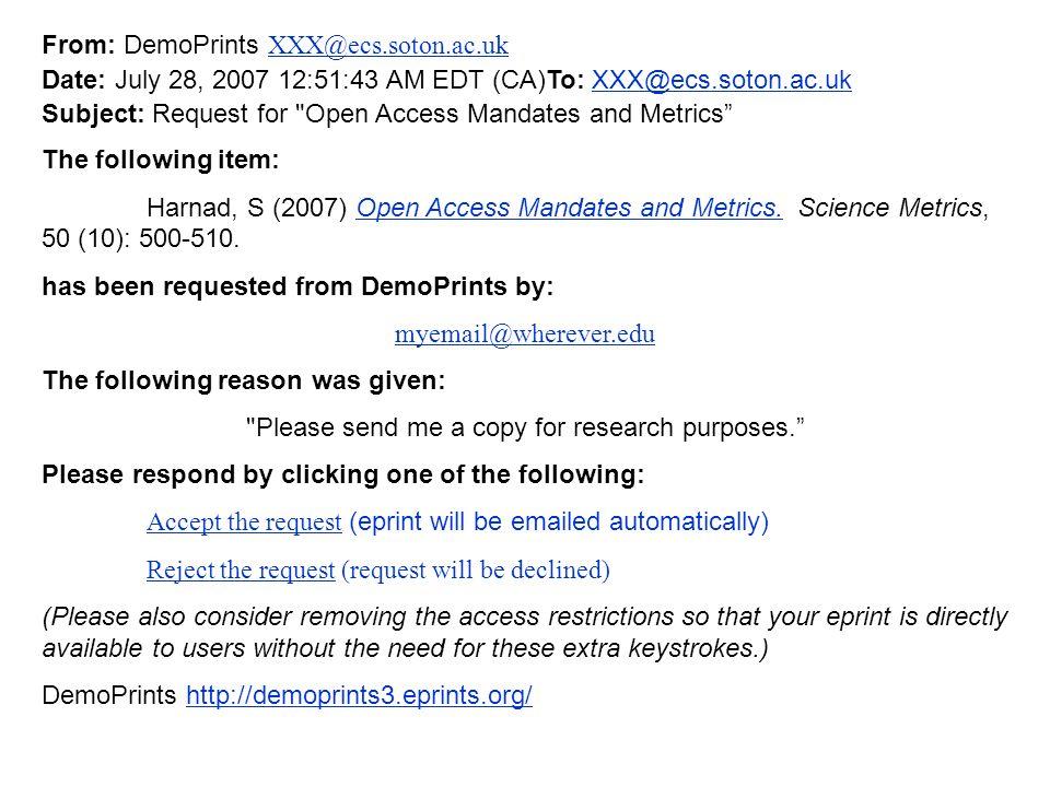 From: DemoPrints XXX@ecs.soton.ac.uk XXX@ecs.soton.ac.uk Date: July 28, 2007 12:51:43 AM EDT (CA)To: XXX@ecs.soton.ac.ukXXX@ecs.soton.ac.uk Subject: R