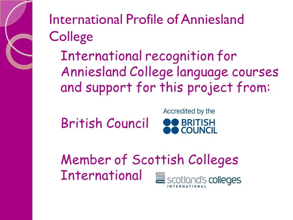 International Profile of Anniesland College International recognition for Anniesland College language courses and support for this project from: Briti