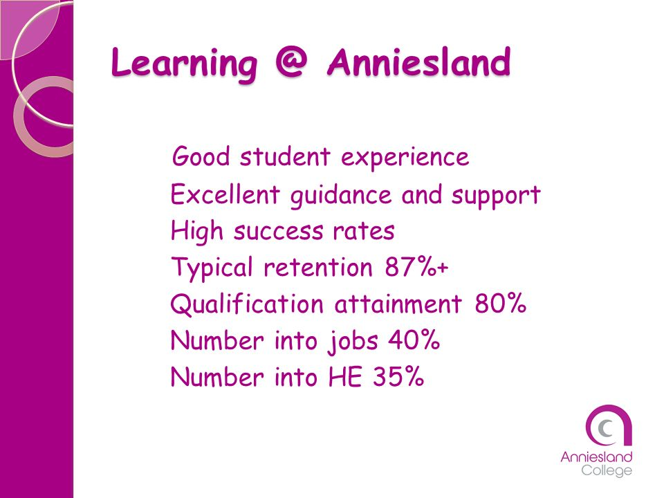 Learning @ Anniesland Good student experience Excellent guidance and support High success rates Typical retention 87%+ Qualification attainment 80% Nu